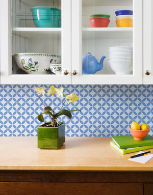 Painted Kitchen Backsplash with Stencils - Royal Design Studio Endless Moorish Circles Moroccan Stencils