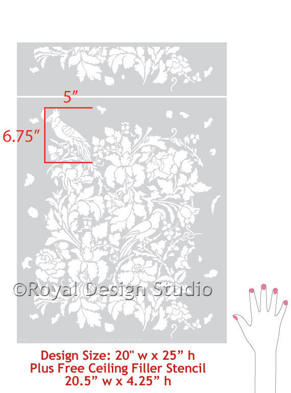 Flowers and bird damask wall stencils for painting elegant floral wall decor - Royal Design Studio