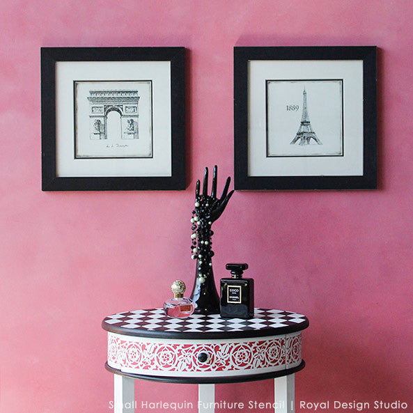 Colorful And Geometric Black And Pink Painted Furniture With Harlequin Furniture Stencils Royal Design Studio