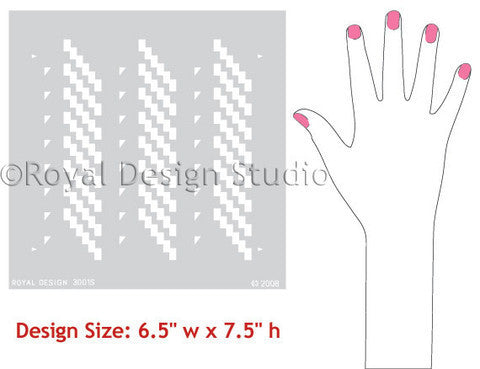 Geometric Moroccan Stencils Ikat Zig Zag Pattern - Royal Design Studio Furniture Painting Stencils