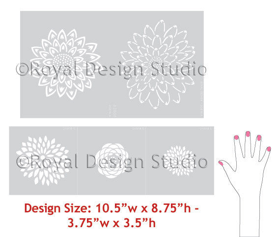 Japanese Flower Garden B Wall Stencil pattern