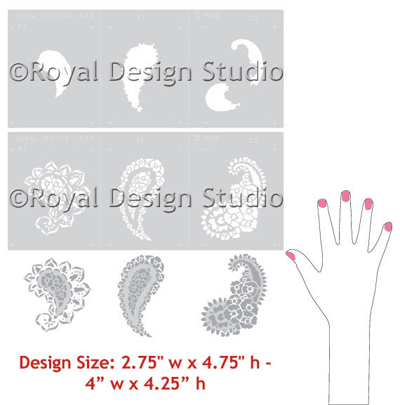 Painted Furniture Stencils for DIY Projects and Home Decor - Indian Paisley Designs - Royal Design Studio