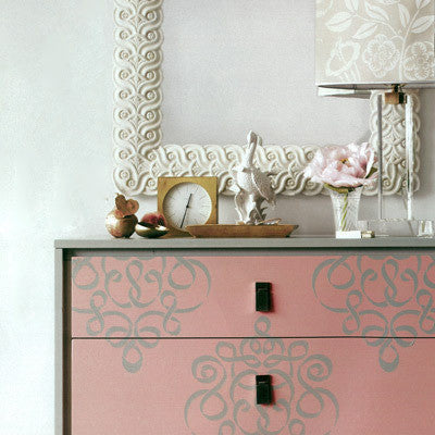 Allover Damask Ribbon Furniture Stencils For Painting Furniture With Chalk  Paint   Royal Design Studio ...