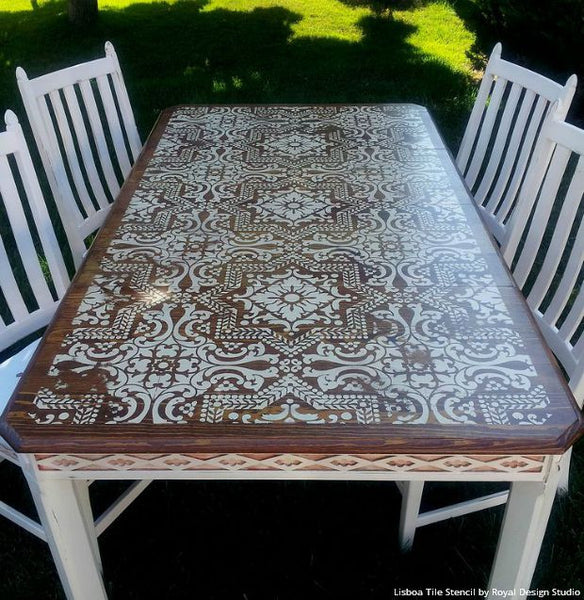 ... Boho Chic Stained Wood And White Chalk Paint Painted Furniture Table  Top With Lisboa Tile Stencils ...