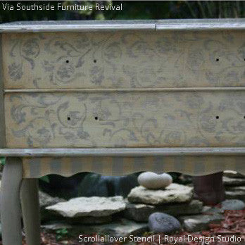 Chalk Paint Painted Dresser Drawers - Scrollallover Furniture Stencils - Royal Design Studio