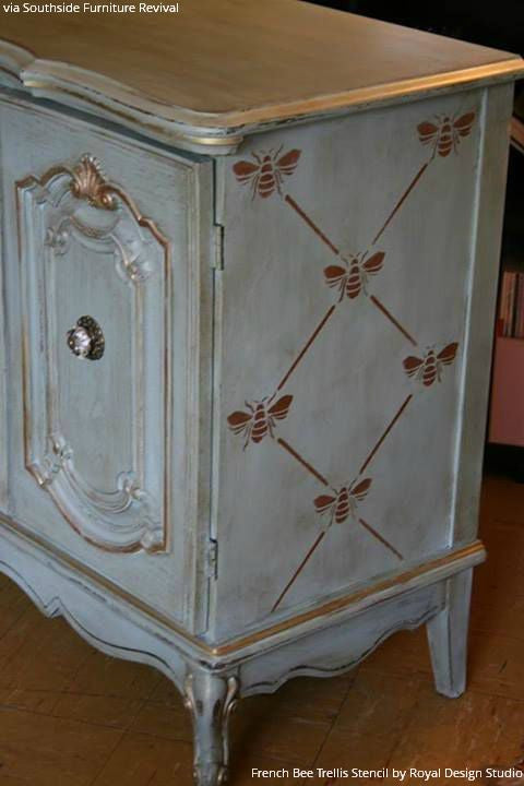 Vintage Boho Style Painted Dresser With French Bee Trellis Stencils