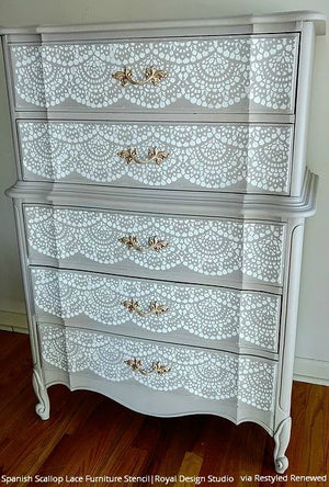 Spanish Lace Scallop Furniture Stencil