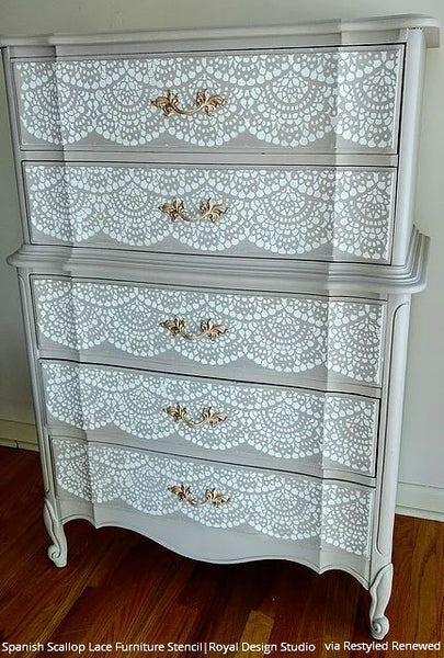 Spanish Lace Allover Furniture Stencil Royal Design