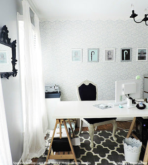 Classy and Chic Vintage Shabby Chic Room Wallpaper Look with Spanish Lace Scallop Wall Stencils - Royal Design Studio