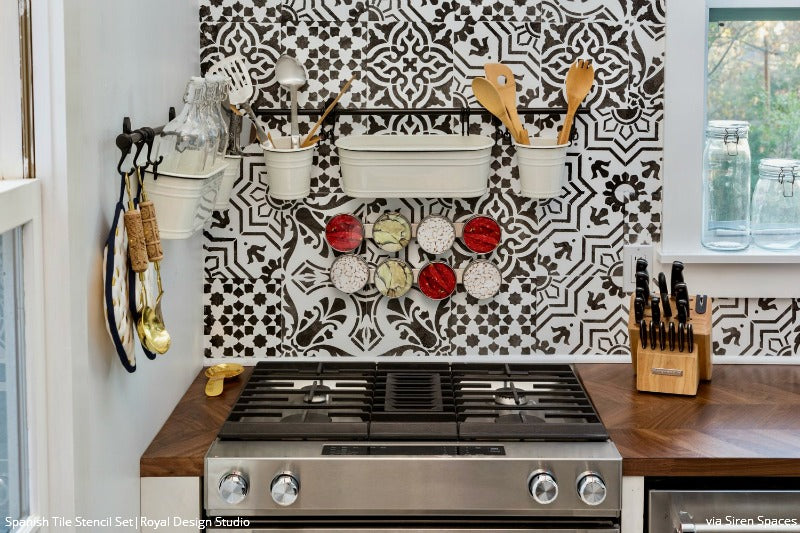 Tile stencils for walls floors and diy kitchen decor for Spanish style kitchen backsplash