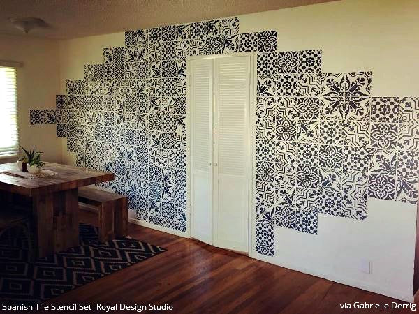 wall decoration tiles. Spanish Tile Stencil Set Stencils for Walls  Floors and DIY Kitchen Decor Royal