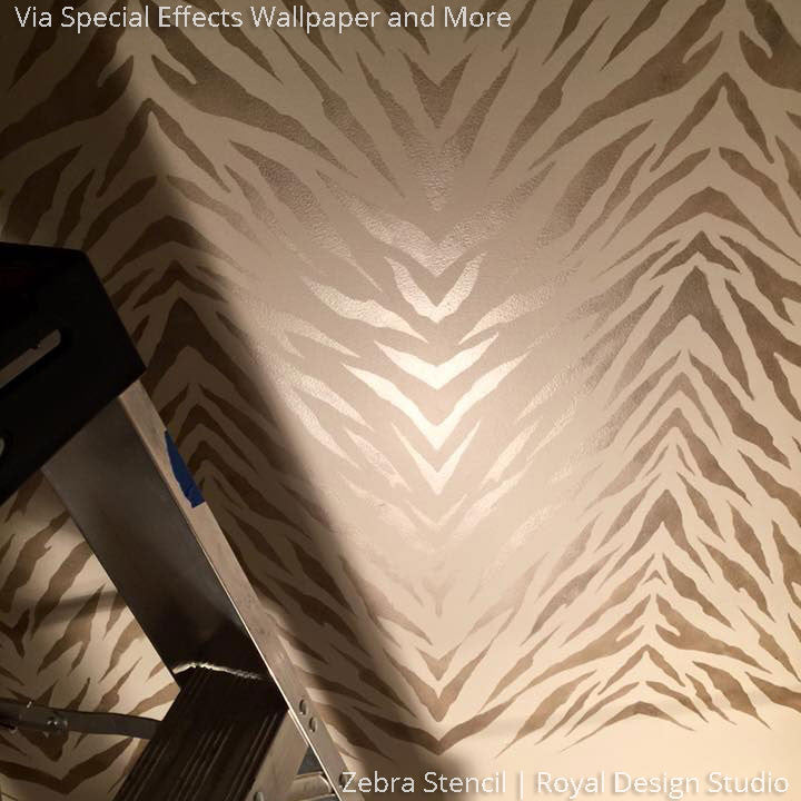 Designer Wallpaper Look using Animal Print Zebra Stripes Stencils - Royal Design Studio
