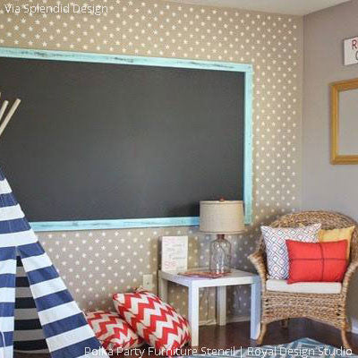 Kids Playroom Decorating with DIY Decor - Stars Wallpaper Pattern using Wall Stencils - Royal Design Studio