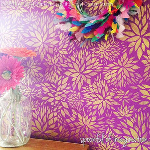 Bold and Colorful Girls Room Decor with Gold and Purple Paint - Petal Play Flower Damask Wall Stencils - Royal Design Studio
