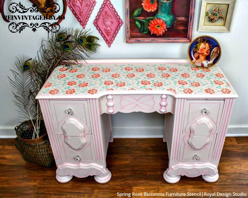 Spring Rose Blossoms Furniture Stencil