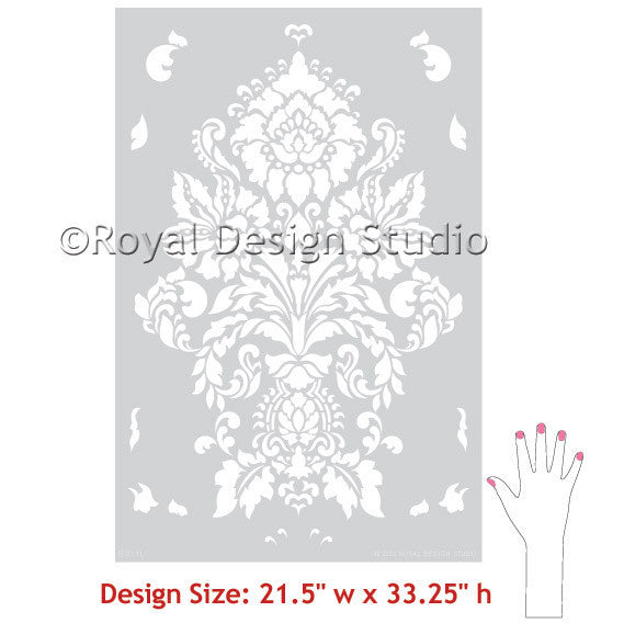 Large Damask Wallpaper Wall Stencils - Classic European Wall Decor Paint Stencils - Royal Design Studio Antoinette Damask Wall Stencils