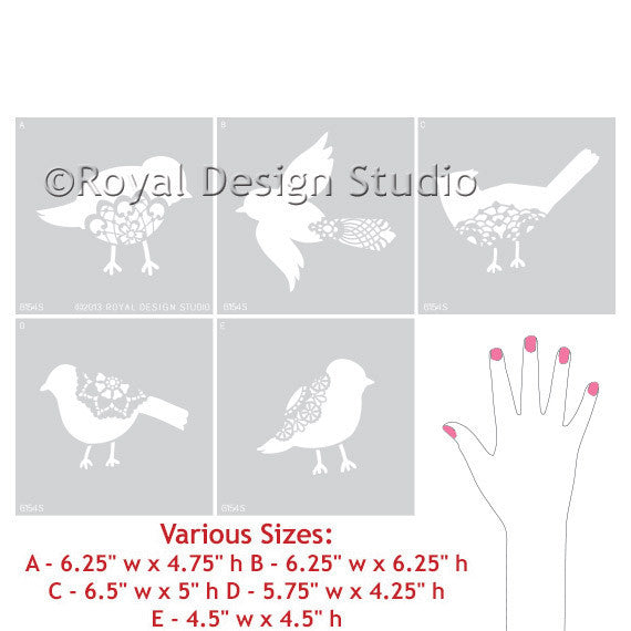 Lace Birds Wall Motif Stencil Set Hand Image - Royal Design Studio Stencils