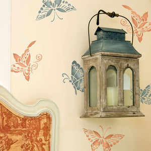 Oriental and Asian Furniture Stencils - Chinoiserie Butterflies Designs for DIY Nursery and Girls Room Decor