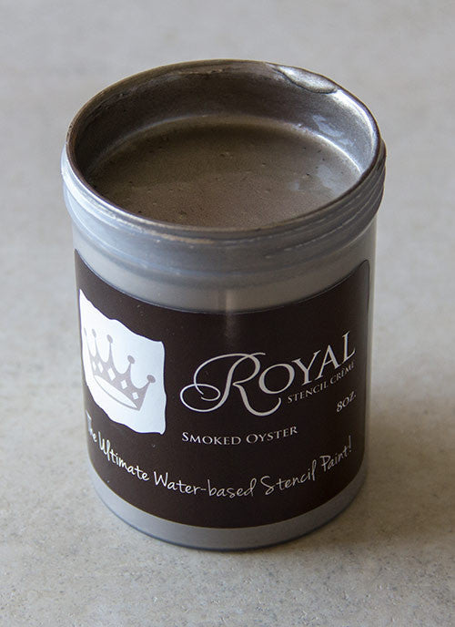 Perfect Stenciling! Stencil Creme paint from Royal Design Studio stencils. Smoked Oyster Color.