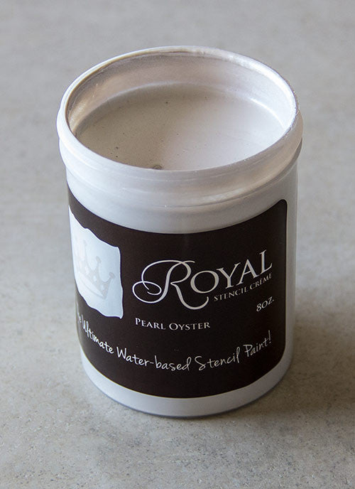 Perfect Stenciling! Stencil Creme paint from Royal Design Studio stencils. Pearl Oyster Color.
