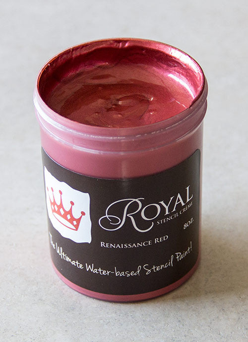 Perfect Stenciling! Stencil Creme paint from Royal Design Studio stencils. Renaissance Red Color.