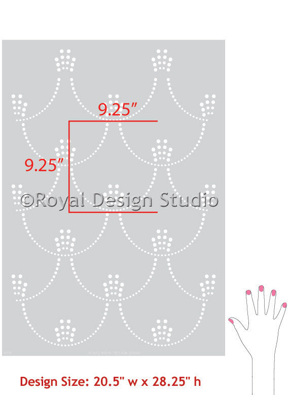Decorating with Art Deco Style - Metallic Art Deco Allover Wall Stencils - Deco Pearls Damask Wall Stencils - Royal Design Studio