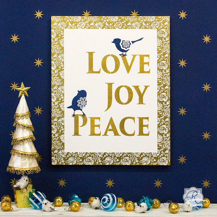 Holiday Joy Stencil Kit for Canvas Art | Royal Design Studio