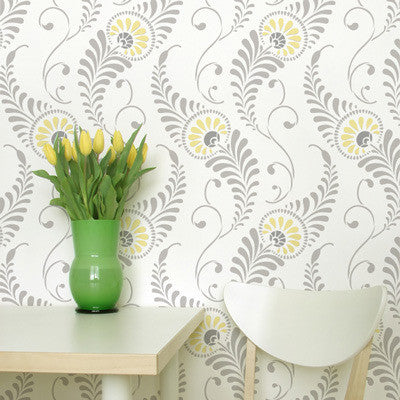 Stencil Patterns Feathered Damask Wall Stencil