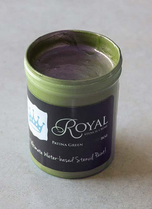 Perfect Stenciling! Stencil Creme paint from Royal Design Studio stencils. Patina Green Color.