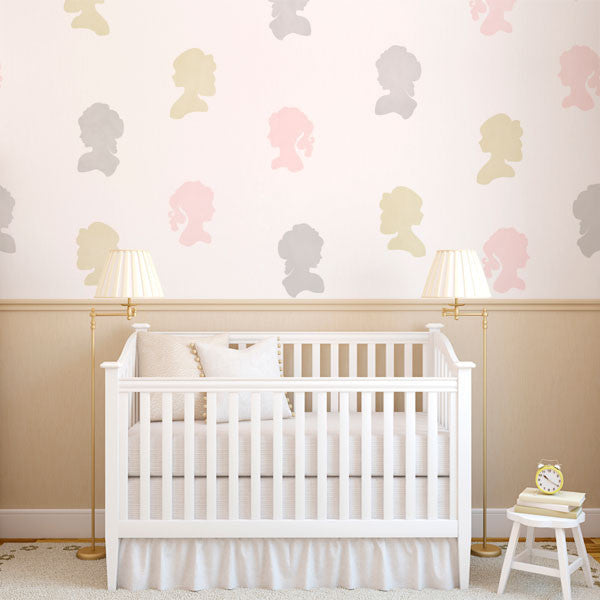 Cute Nursery Decor or Girls Room Decor - Painted Cameo Faces with Wall Art Stencils