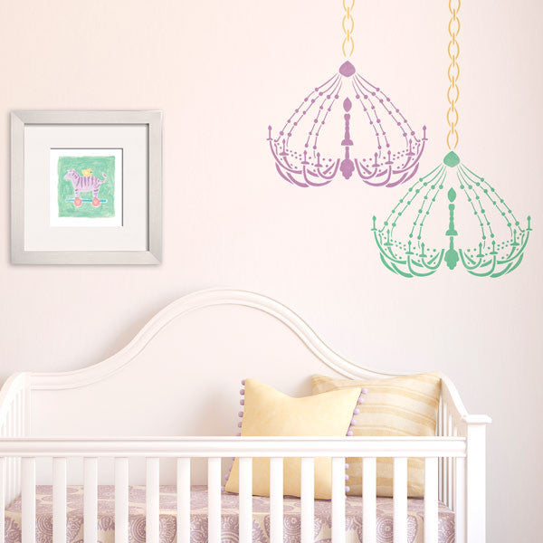 Baby Girl Nursery Decor Dressing Room Chandelier Bari J Stencil