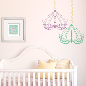 Chandelier wall stencils for cute baby girl nursery decor - Royal Design Studio