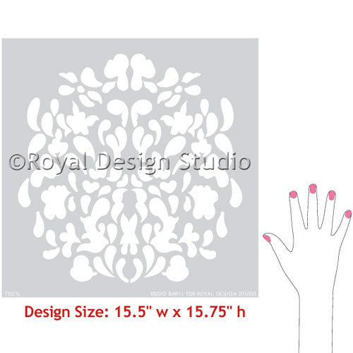 Floral Stamp Wallpaper Wall Art Stencils for DIY Wall Decor