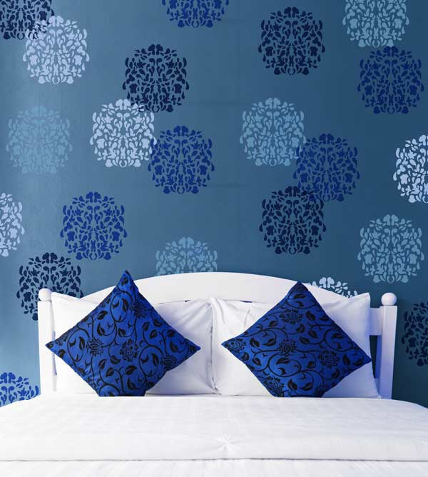 floral stamp wallpaper wall art stencils for diy wall decor - Design Stencils For Walls
