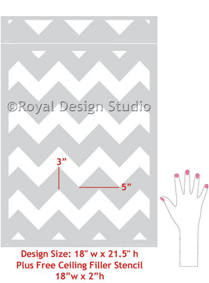 Modern and Classic Patterns for Painting Walls - Chevron Wall Stencils - Royal Design Studio