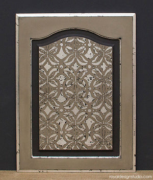 Royal Stencil Size on Distressed Silver Gilded Door