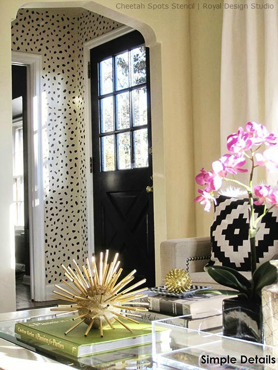Get Designer Wallpaper Look for Less! Animal Print Cheetah Leapord Spots Wall Stencil Painted in Mudroom, Foyer, Entry - Royal Design Studio