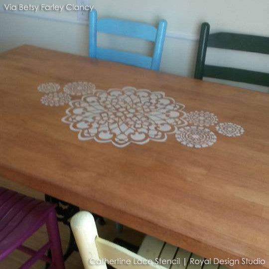 Painted Furniture and Table Tops with Lace Designs and Lace Stencils