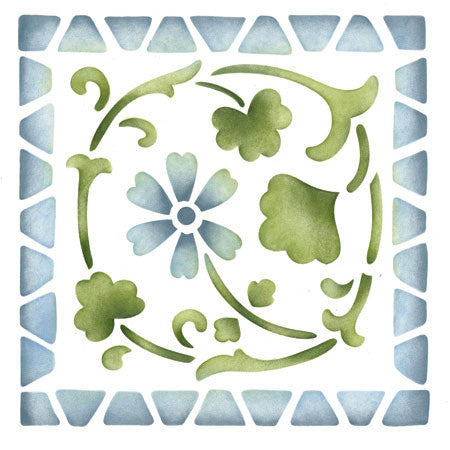 Classic Wall Stencils - Large Folk Flower Corner Stencils for Walls and Ceilings - Royal Design Studio