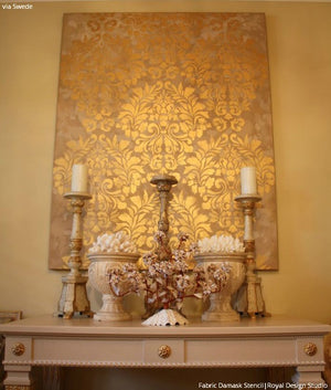 Large Fabric Damask Wall Stencils for Elegant and Chic Wall Art Decor Look - Royal Design Studio