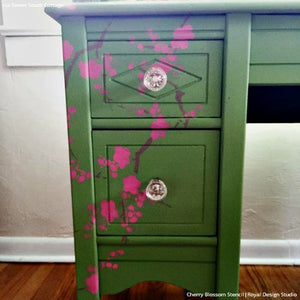 DIY Decorating with Japanese and Asian Decor - Cherry Blossoms Flower Furniture Stencils - Royal Design Studio
