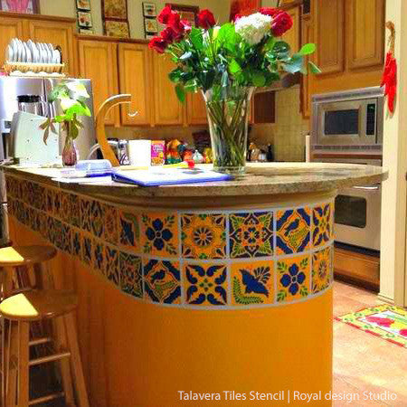 Mexican Talavera Tiles Wall  Furniture Stencils  Royal Design