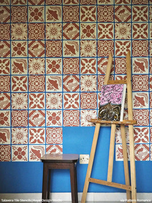 Colorful Pink and Blue Mexican Tiles Wall Stencils - Royal Design Studio