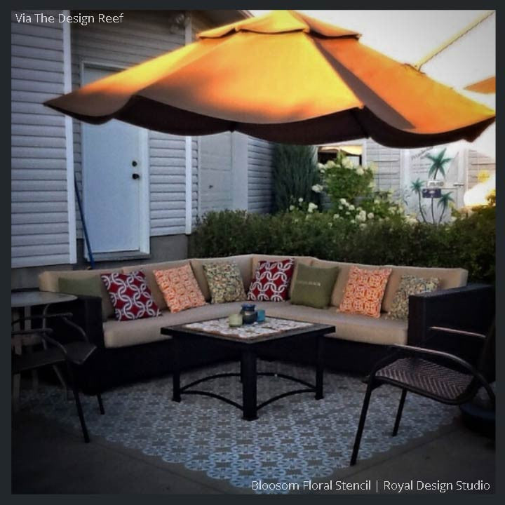 DIY Painted Wood Patio Porch Floor with Stencils for Outdoor Party Decor