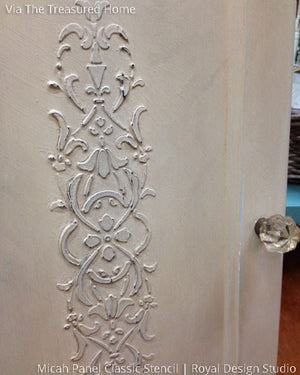 Embossed Raised Pattern with Plaster on Wood Door - Micah Classic Panel and Furniture Stencils - Royal Design Studio