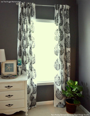 Painted Fabric and DIY Curtains with Rani Paisley Indian Damask Wall Stencils - Royal Design Studio
