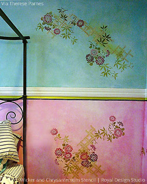 Colorful Pink and Blue Wall Finish with Asian Stencils and Wall Flower Designs - Royal Design Studio
