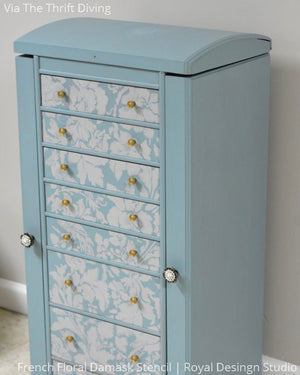 Tiffany Blue and White Chalk Paint Furniture Upcycle - French Flower Damask Stencils for Crafts - Royal Design Studio