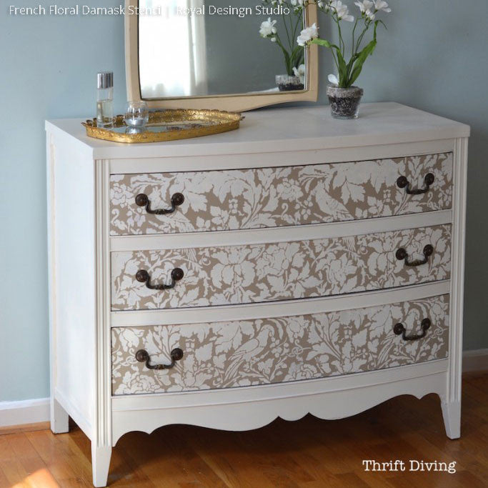 Chalk Paint Painted Furniture Project using French Floral Damask Stencils - Royal Design Studio