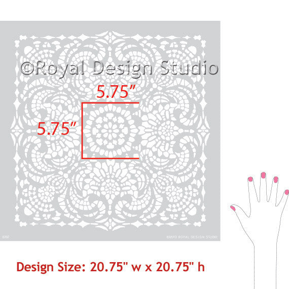 Spanish Lace Tile Stencils for Lacy Patterns and Romantic Sweet Cute Wall Decor - Royal Design Studio Wall Stencils